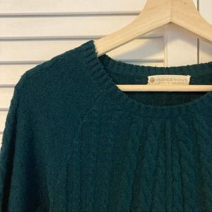 NWT INDIGENOUS Cable Knit Teal Organic Cotton Sweater, L